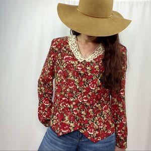 vintage boho floral long sleeve button up blouse